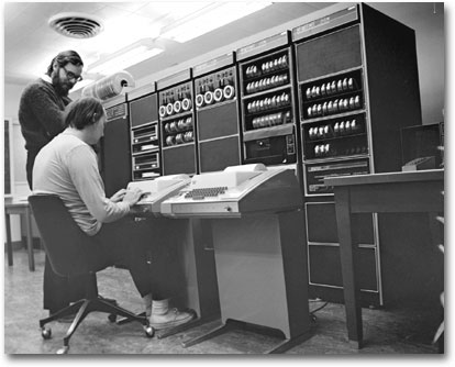 Ken and Dennis in front of a PDP-11